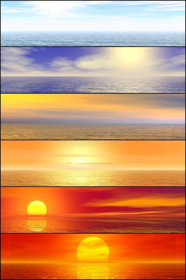 Conjunto de la cabecera del paisaje marino de la sol foto de archivo libre de regalías