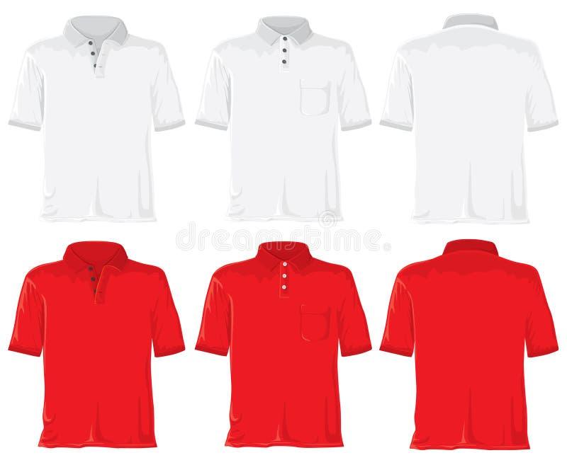 Conjunto de la camisa de polo. Blanco y rojo ilustración del vector