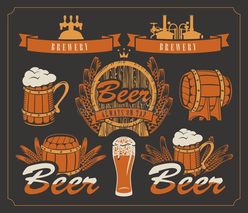 Conjunto de la cerveza stock de ilustración