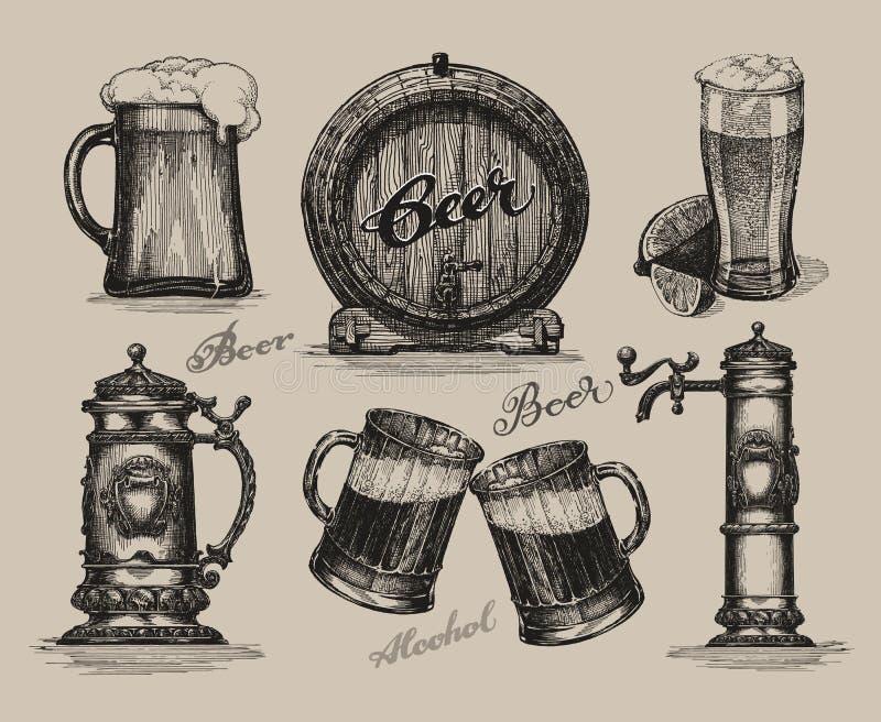 Conjunto de la cerveza Elementos del bosquejo para el festival más oktoberfest fotos de archivo