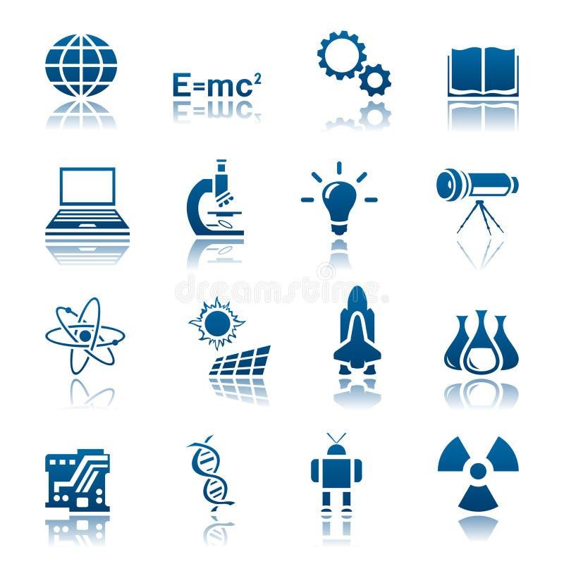 Conjunto de la ciencia y del icono de la tecnología