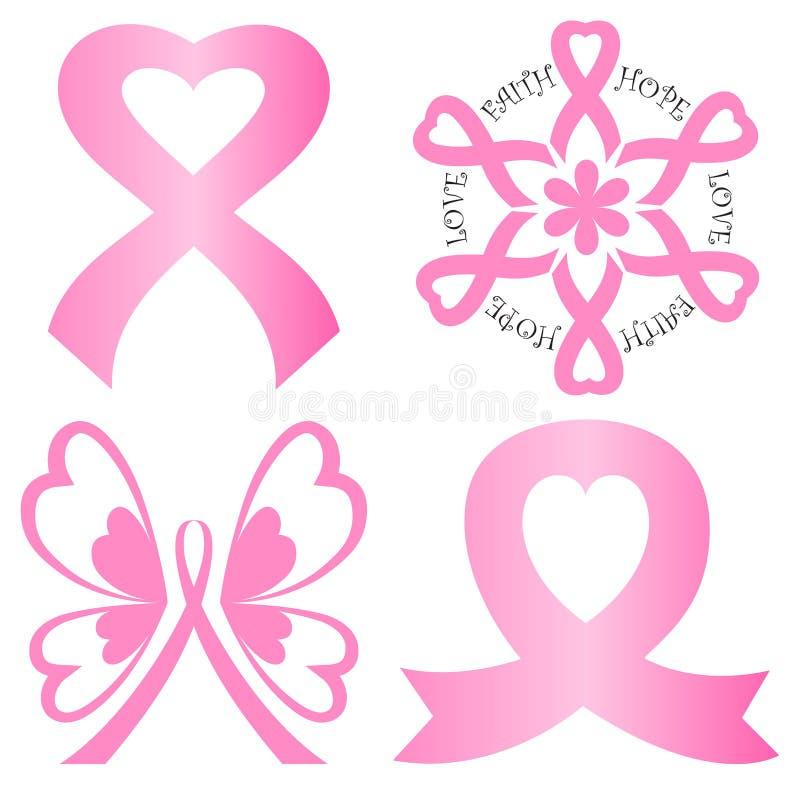 Conjunto de la cinta del color de rosa del cáncer de pecho stock de ilustración