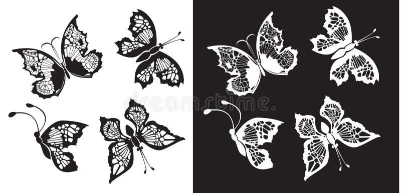 Conjunto de la colección de las mariposas de la silueta libre illustration