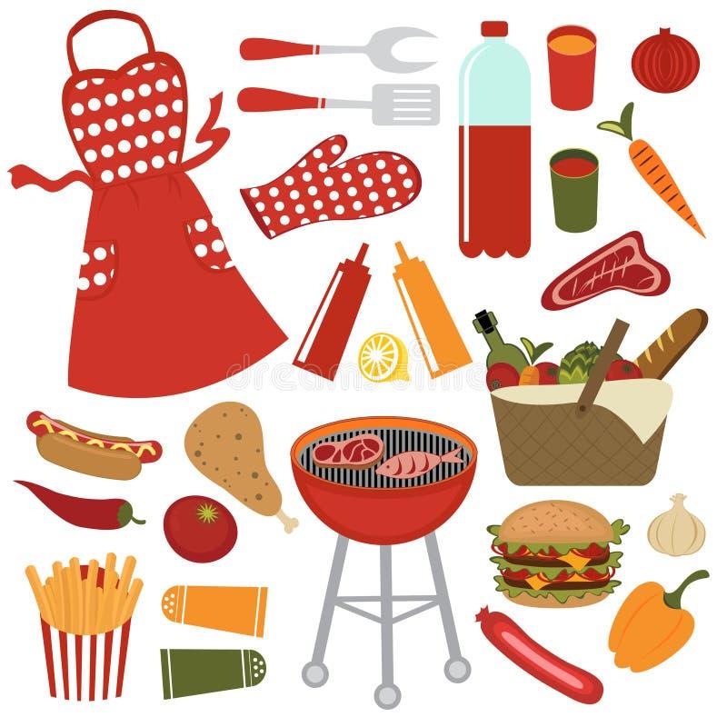 Conjunto de la comida campestre stock de ilustración