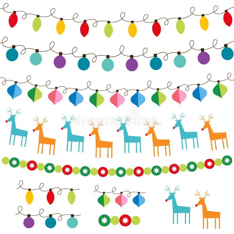 Conjunto de la decoración de la Navidad stock de ilustración