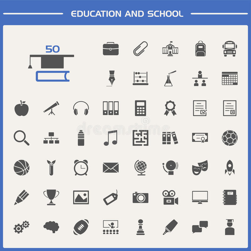 Conjunto de la educación y del icono de la escuela stock de ilustración