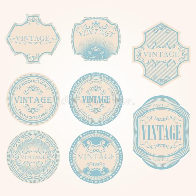 Conjunto de la escritura de la etiqueta de la vendimia ilustración del vector