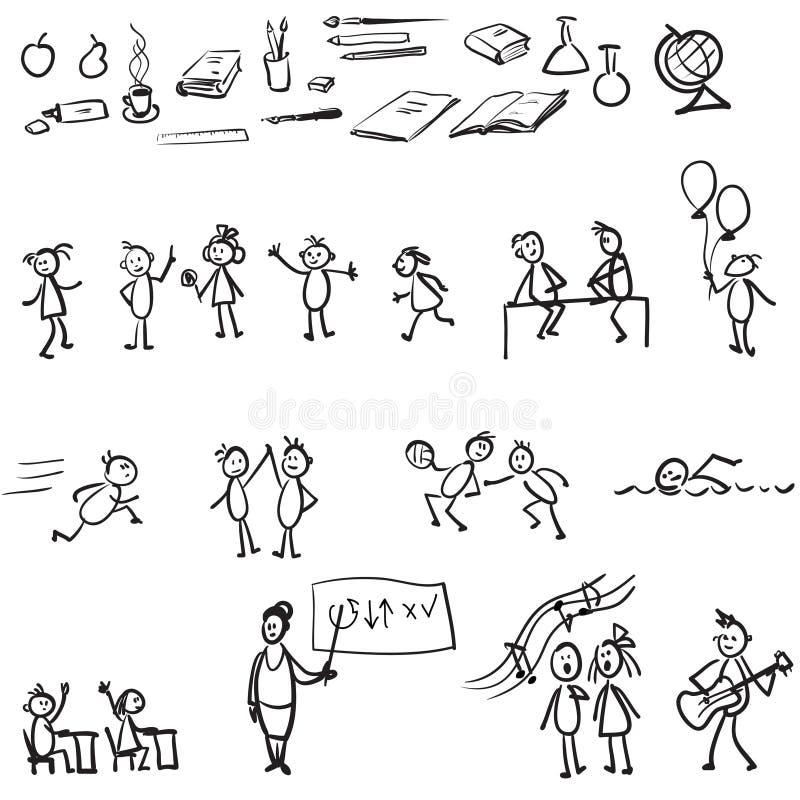 Conjunto de la escuela ilustración del vector