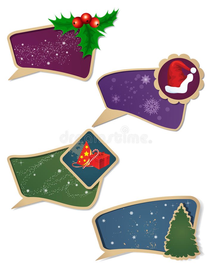 Conjunto de la etiqueta del regalo de la Navidad. stock de ilustración