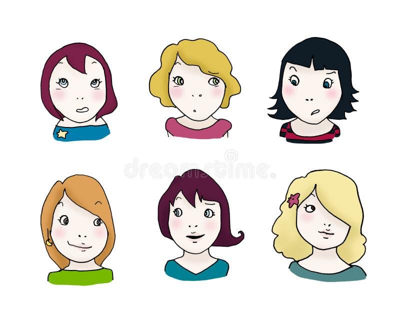 Conjunto de la expresión de las muchachas ilustración del vector