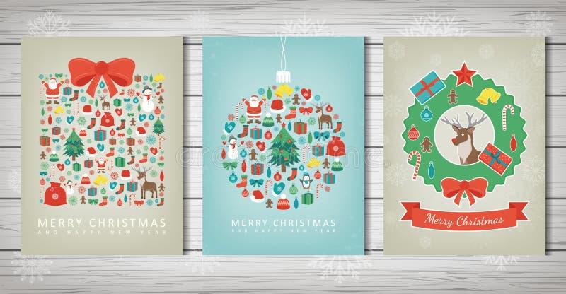 Conjunto de la Feliz Navidad Colecciones de la tarjeta de felicitación con los elementos de la Navidad Vector ilustración del vector