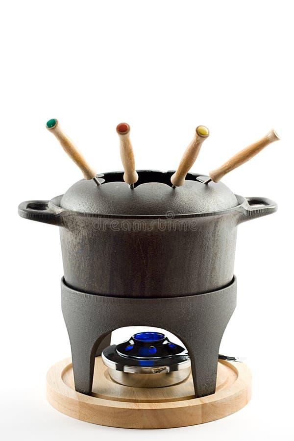Conjunto de la 'fondue' del arrabio  foto de archivo libre de regalías