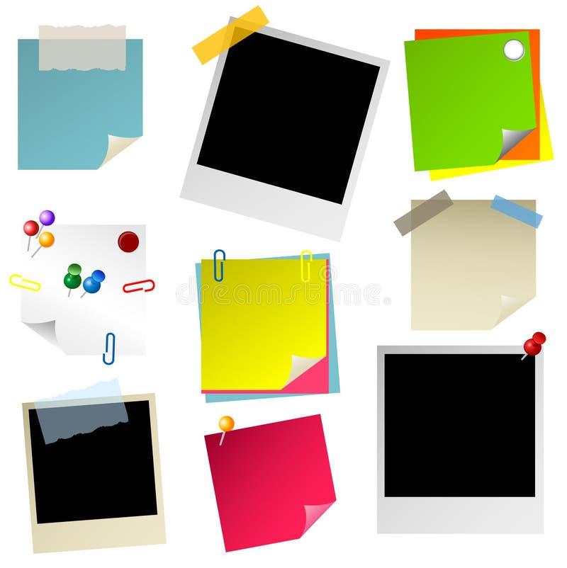 Conjunto de la foto de la etiqueta engomada del papel de nota stock de ilustración
