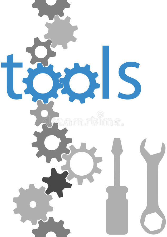 Conjunto de la frontera del icono de la herramienta del engranaje de la tecnología de las herramientas stock de ilustración