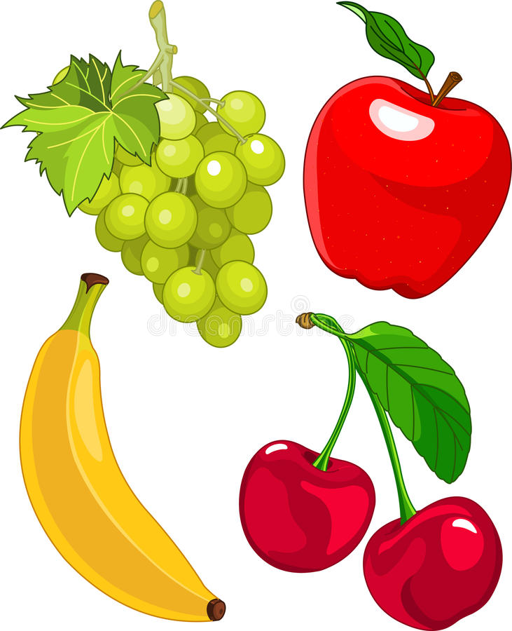 Conjunto de la fruta de la historieta ilustración del vector
