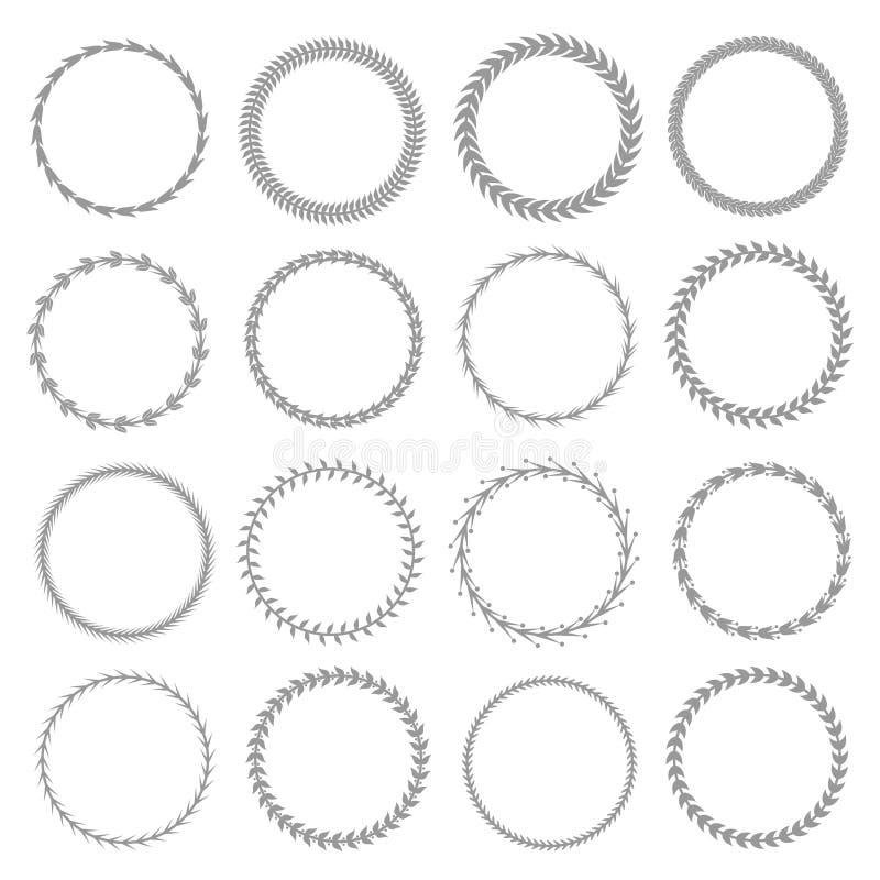 Conjunto de la guirnalda del laurel ilustración del vector