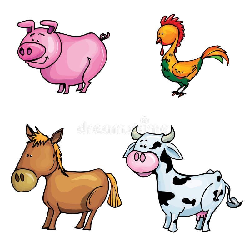 Conjunto de la historieta de animales del campo stock de ilustración