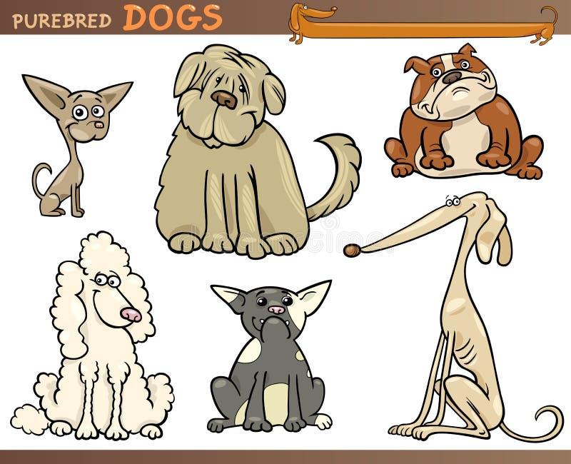 Conjunto de la historieta de los perros del purasangre stock de ilustración
