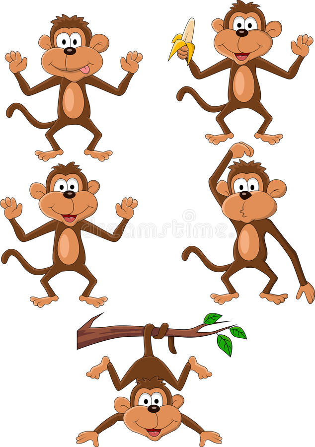 Conjunto de la historieta del mono ilustración del vector