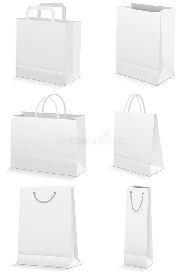 Conjunto de la ilustración de los bolsos de compras de papel. stock de ilustración