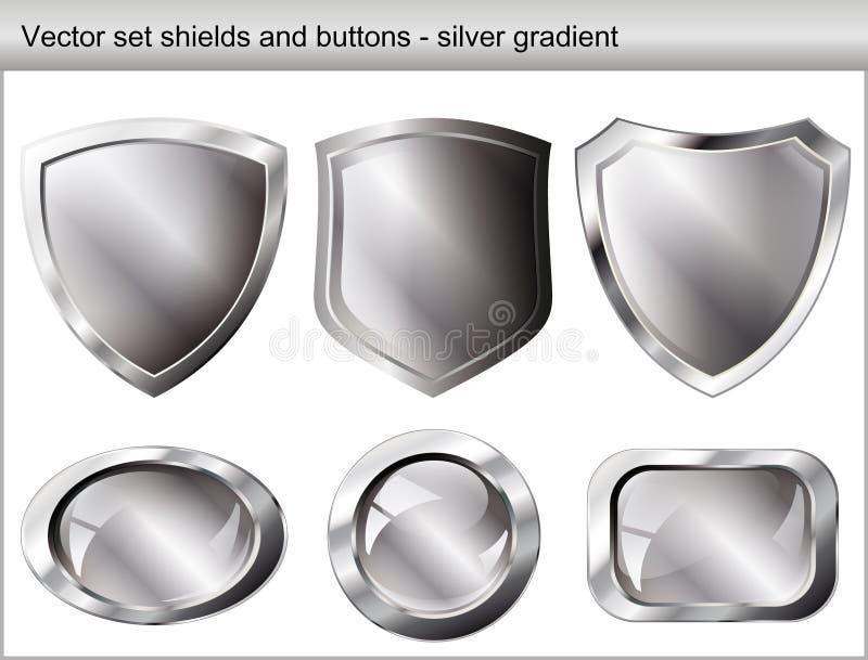 Conjunto de la ilustración del vector. Blindaje y botón brillantes libre illustration