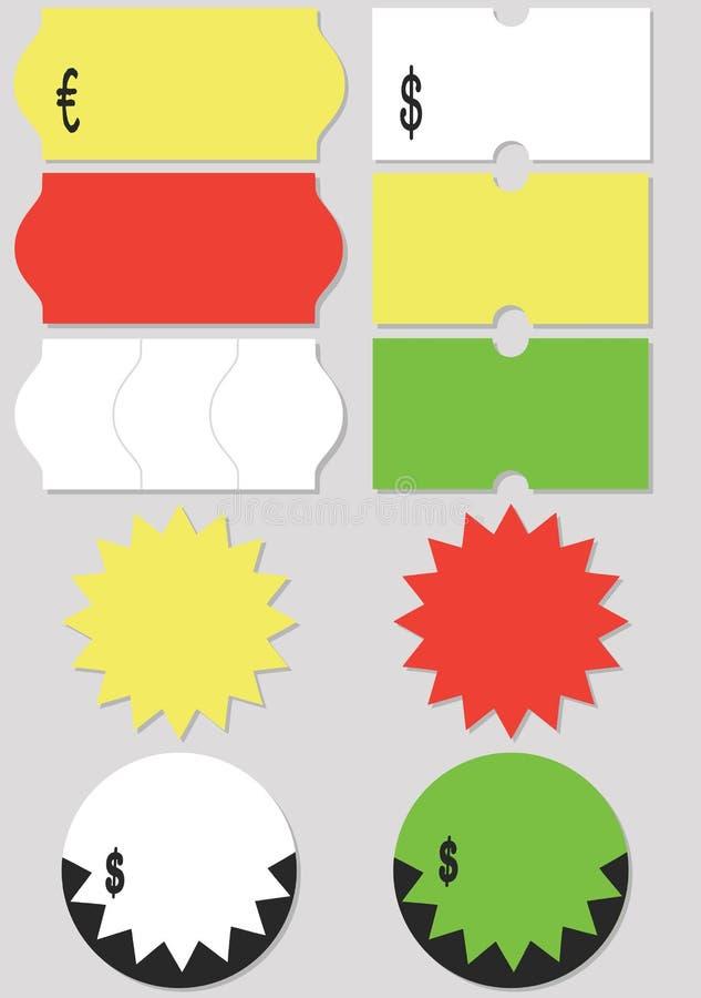 Conjunto de la ilustración del vector del precio libre illustration