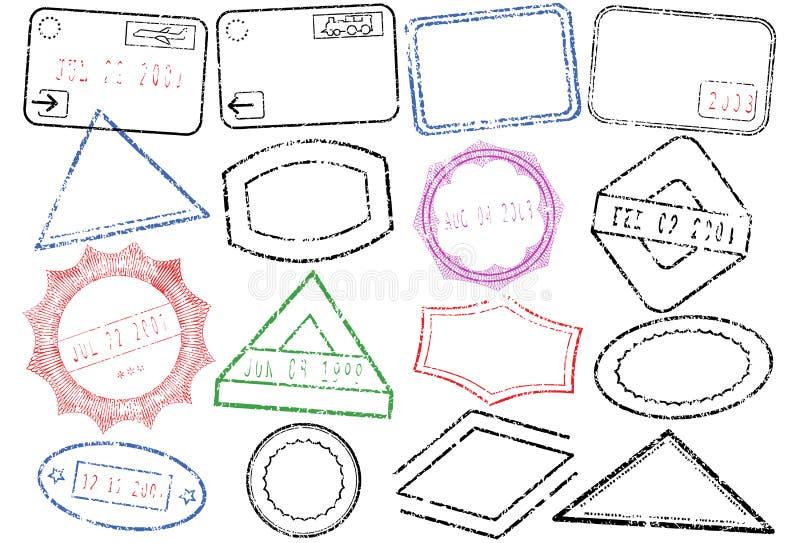 Conjunto de la ilustración del vector del sello del pasaporte o del poste ilustración del vector