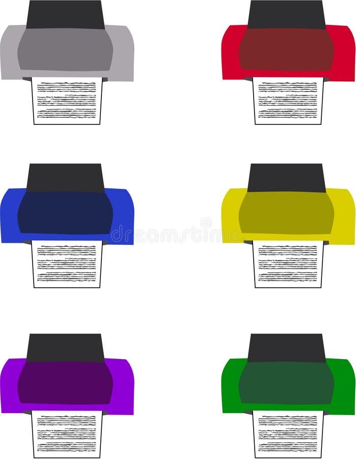 Conjunto de la impresora ilustración del vector