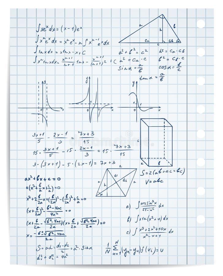 Conjunto de la matemáticas y de la geometría stock de ilustración