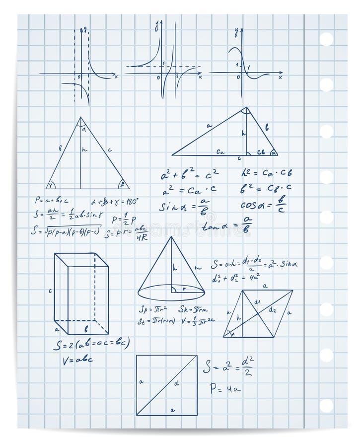 Conjunto de la matemáticas y de la geometría ilustración del vector