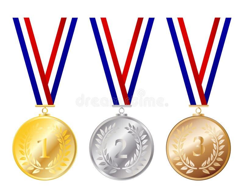 Conjunto de la medalla ilustración del vector