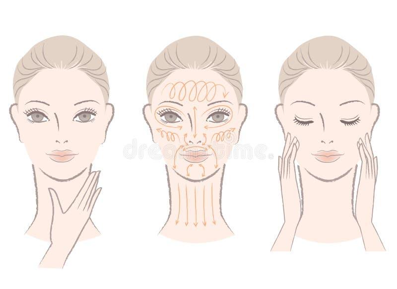 Conjunto de la mujer elegante que da masajes a su cara y cuello libre illustration
