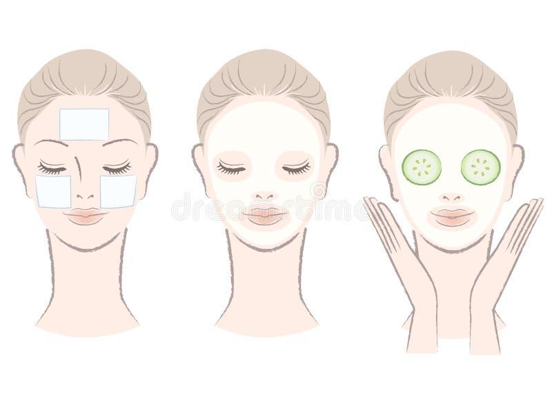 Conjunto de la mujer hermosa con la mascarilla stock de ilustración
