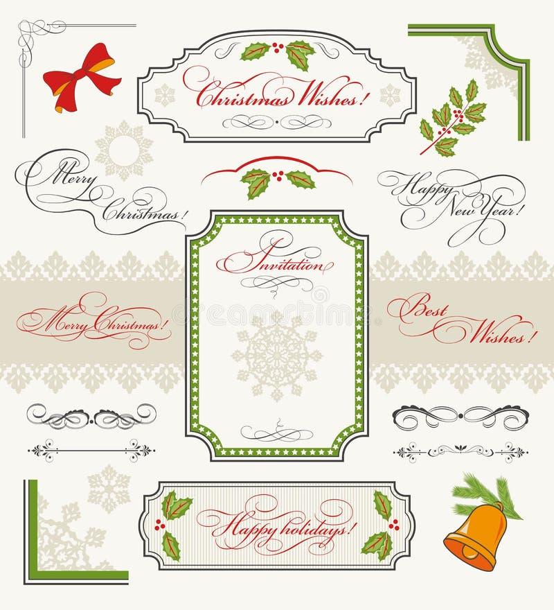 Conjunto de la Navidad de elementos caligráficos del diseño ilustración del vector