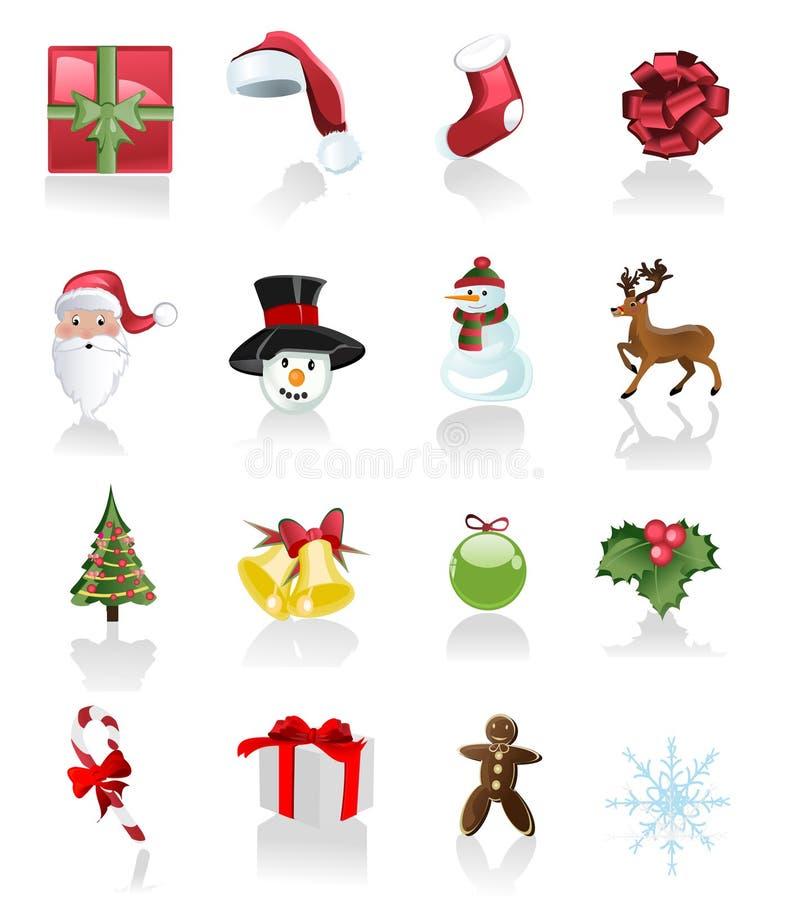 Conjunto de la Navidad de iconos en el fondo blanco libre illustration