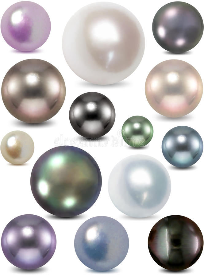 Conjunto de la perla del color. Vector stock de ilustración