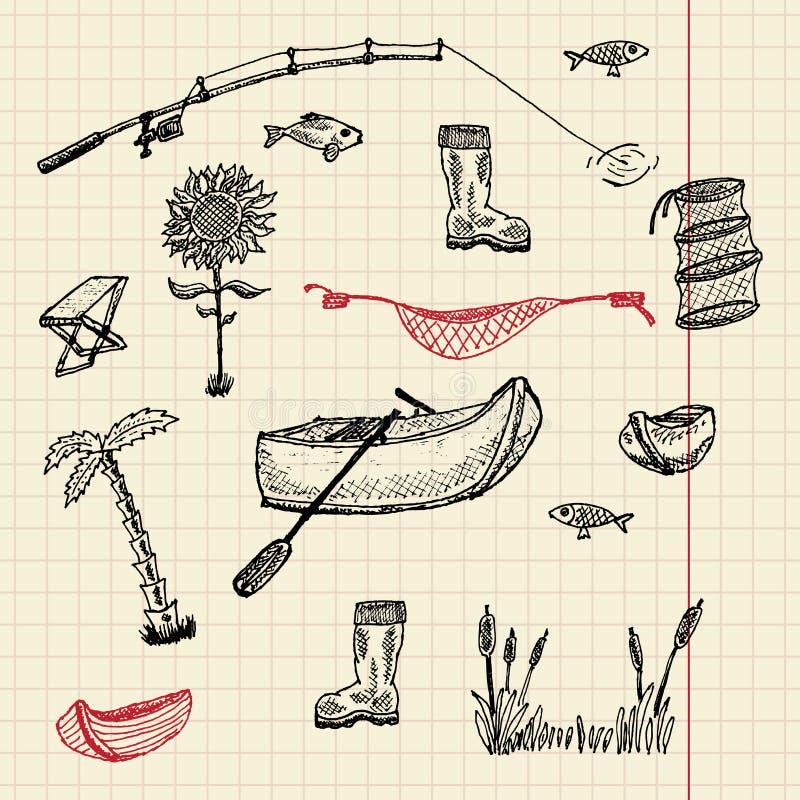 Conjunto de la pesca del bosquejo libre illustration