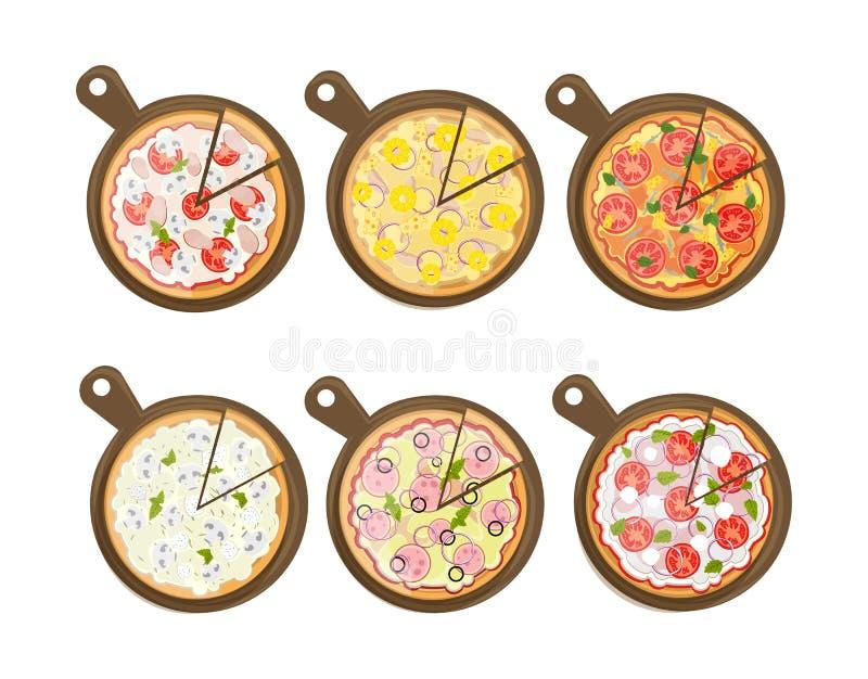 Conjunto de la pizza stock de ilustración
