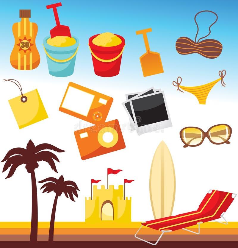 Conjunto de la playa ilustración del vector