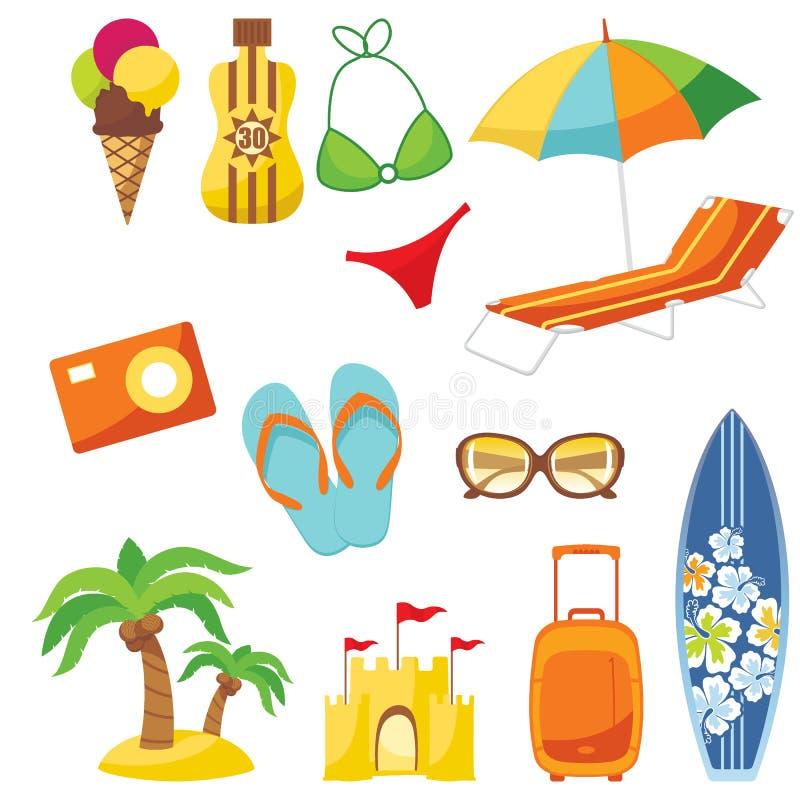 Conjunto de la playa stock de ilustración