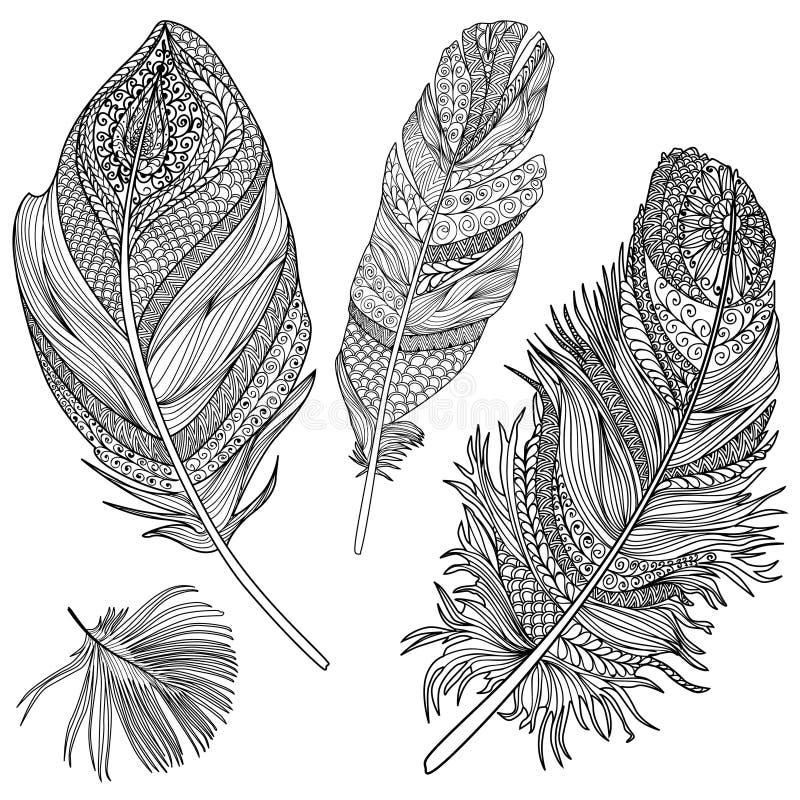 Conjunto de la pluma Plumas del vector en un fondo blanco Tribunal del vintage ilustración del vector