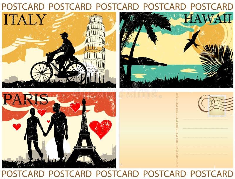 Conjunto de la postal ilustración del vector