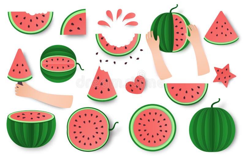 Conjunto de la sandía, mitad y sistema del corte aislado en el fondo blanco Diseño de moda de la comida sana Ejemplo de la fruta  stock de ilustración