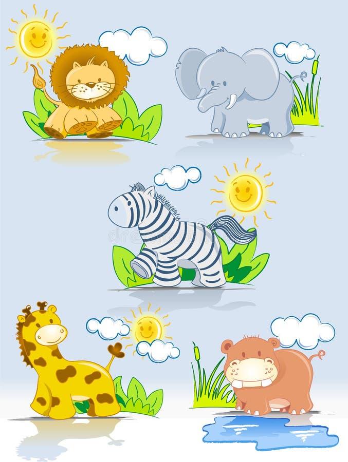 Conjunto de la selva de los animales de la historieta ilustración del vector