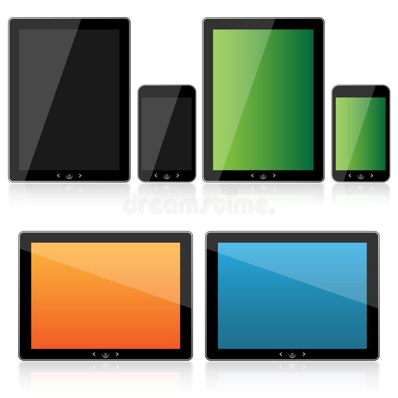 Conjunto de la tablilla y del smartphone