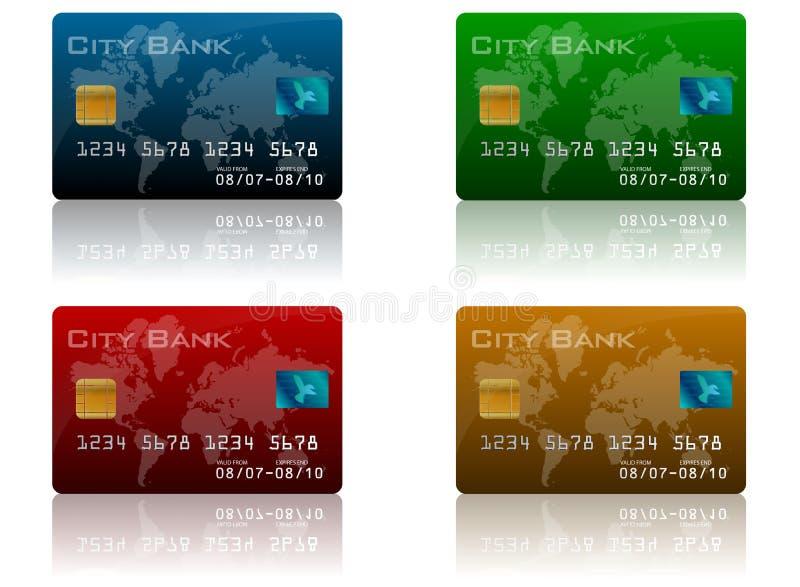 Conjunto de la tarjeta de crédito stock de ilustración