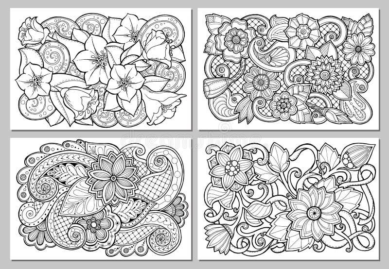 Conjunto de la tarjeta floral Ilustraciones dibujadas mano con las flores abstractas ilustración del vector