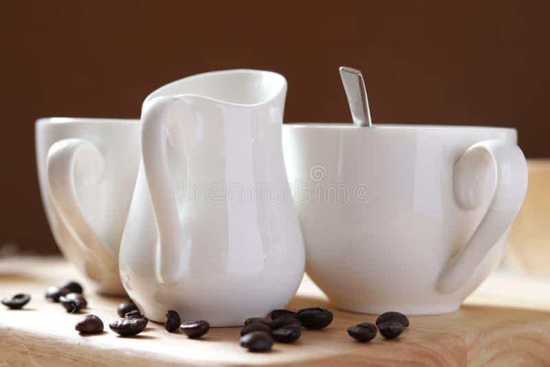 Conjunto de la taza de café fotografía de archivo libre de regalías