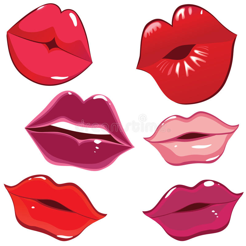 Conjunto de labios brillantes en beso blando. libre illustration