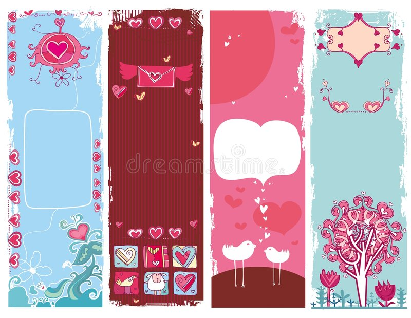 Conjunto de las banderas 1 del grunge del día de tarjeta del día de San Valentín libre illustration